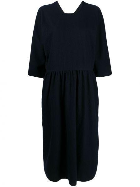 Синее шерстяное расклешенное платье миди с вырезом Sofie D'hoore