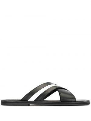 Кожаные черные шлепанцы с открытым носком на плоской подошве Bally