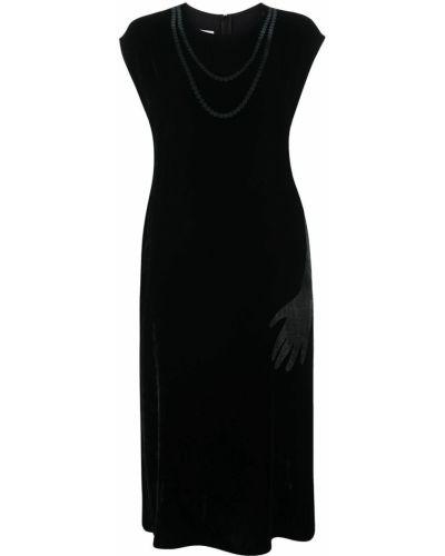 Шелковое черное платье миди трапеция Mm6 Maison Margiela