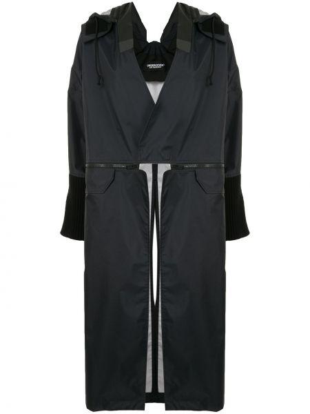 Черное пальто классическое с капюшоном свободного кроя Undercover