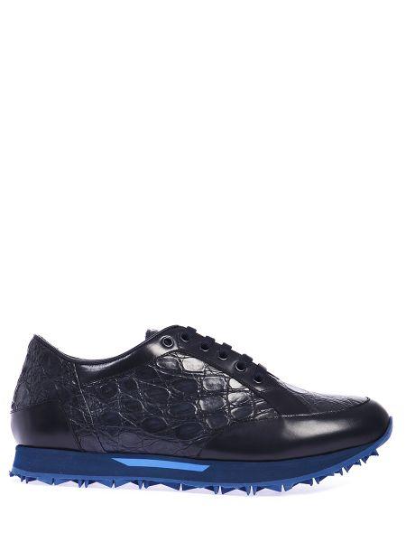 Синие комбинированные кроссовки из крокодила со вставками Zilli