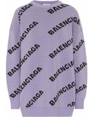 Свитер жаккардовый малиновый Balenciaga
