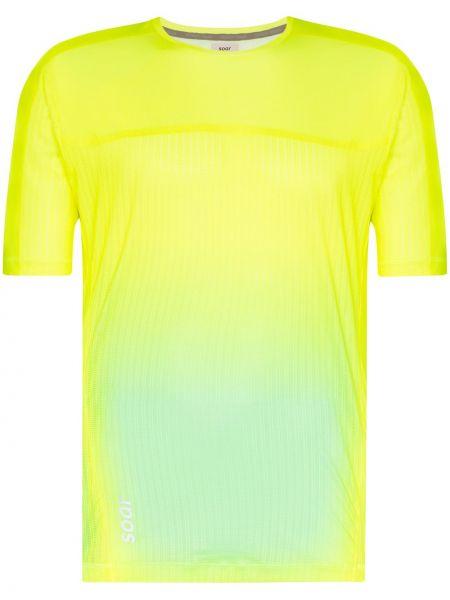 С рукавами облегченная желтая рубашка с короткими рукавами для бега Soar