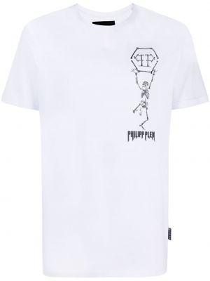 Biały t-shirt bawełniany z printem Philipp Plein