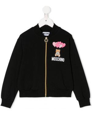 Черная длинная куртка Moschino