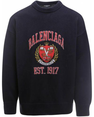 Sweter z haftem - niebieski Balenciaga