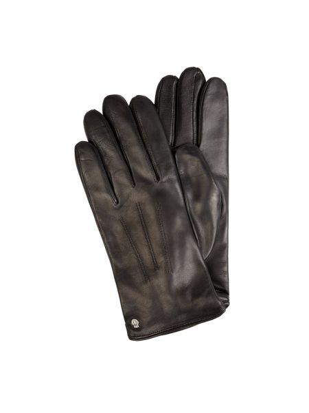 Skórzany czarny rękawiczki z nitami Roeckl