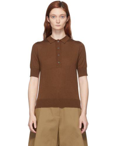С рукавами коричневое поло с воротником с жемчугом Studio Nicholson
