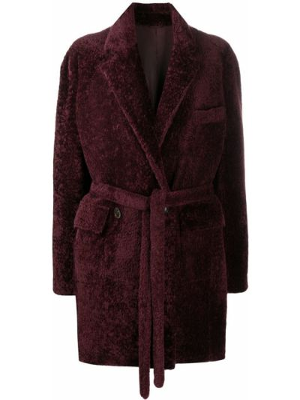 Красное кожаное пальто классическое с карманами Simonetta Ravizza