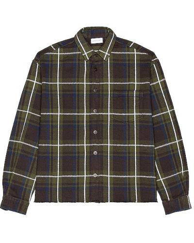 Zielony bawełna koszula z mankietami z kieszeniami John Elliott