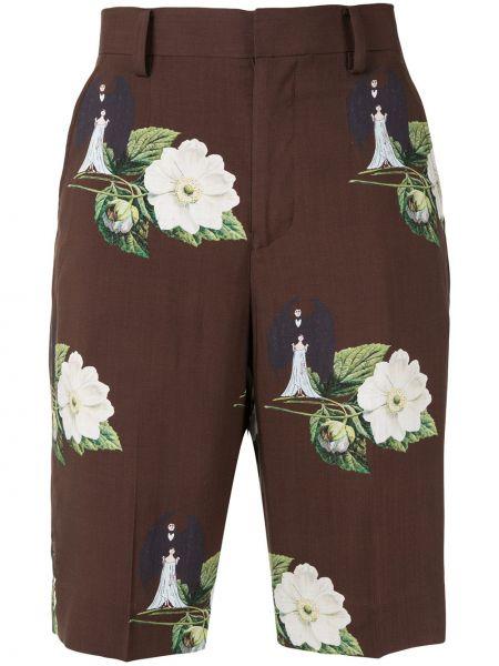 Коричневые хлопковые шорты с карманами Undercover