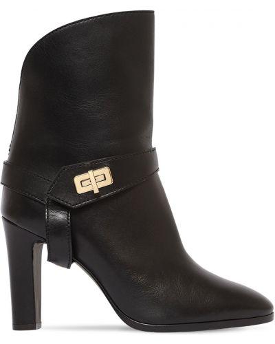 Czarny buty na pięcie z prawdziwej skóry na pięcie z klamrą Givenchy