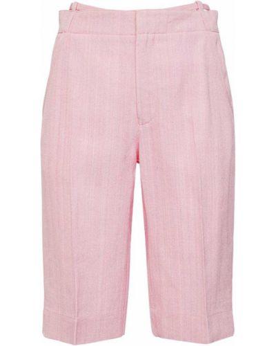 Розовые короткие шорты с карманами из вискозы Jacquemus