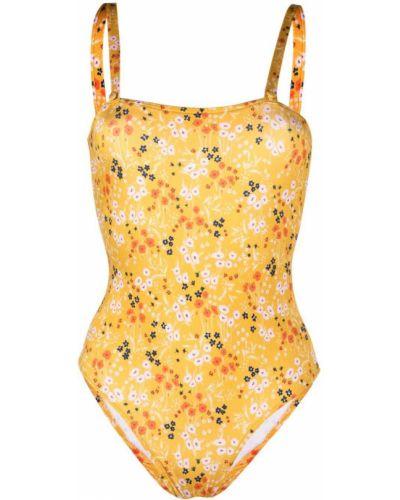 Желтый слитный купальник в цветочный принт без застежки Lautre Chose