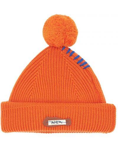 Pomarańczowy wełniany czapka z łatami Ader Error