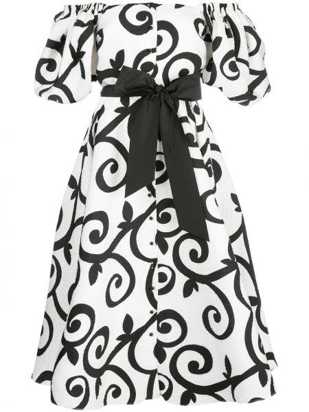 Czarna sukienka midi krótki rękaw z paskiem Rodarte