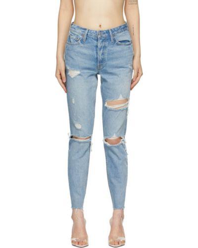 Желтые зауженные джинсы-скинни стрейч с заплатками Grlfrnd