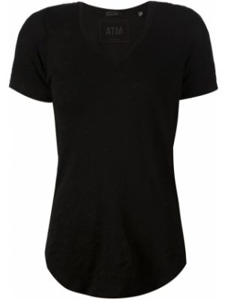 Czarny t-shirt bawełniany z dekoltem w serek Atm Anthony Thomas Melillo