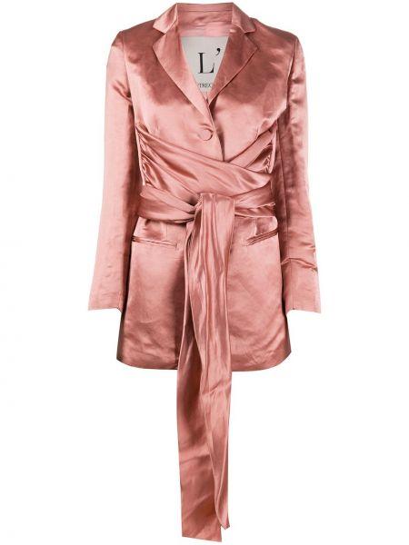 Розовый пиджак с поясом на пуговицах L'autre Chose