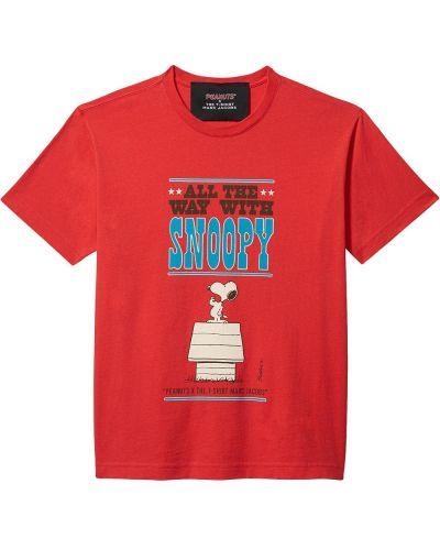 Хлопковая красная прямая футболка Marc Jacobs
