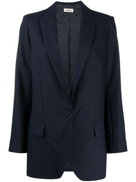 Синий удлиненный пиджак с карманами с воротником Zadig&voltaire