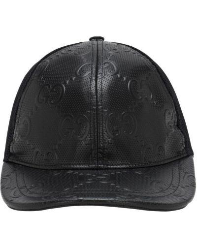 Z paskiem czarny czapka z siatką z prawdziwej skóry Gucci