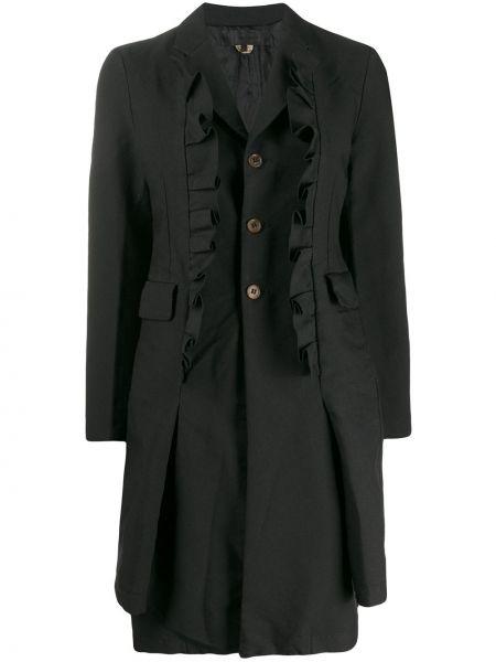 Черное длинное пальто с капюшоном на пуговицах Comme Des Garçons Comme Des Garçons