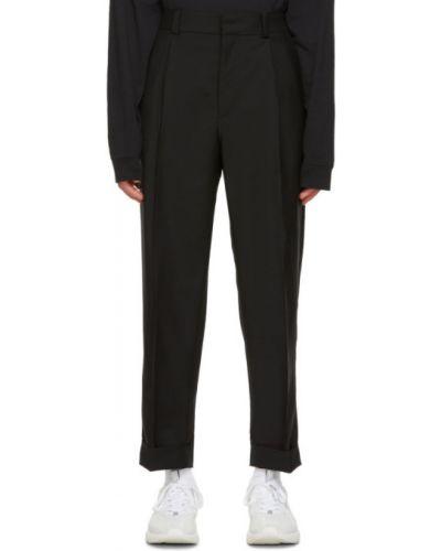 Czarne spodnie wełniane z paskiem Acne Studios
