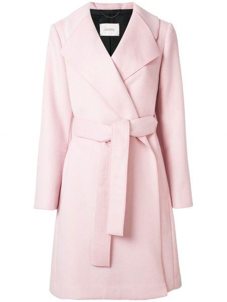 Шерстяное розовое длинное пальто с капюшоном Dorothee Schumacher
