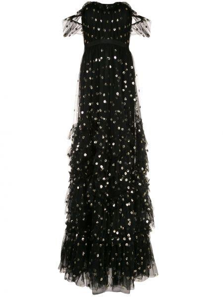 Черное платье на молнии с вырезом с открытыми плечами Marchesa Notte