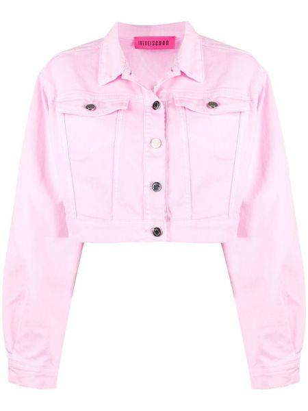 Джинсовая куртка розовая на пуговицах Irene Is Good