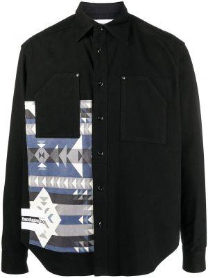 Czarna koszula z długimi rękawami wełniana Facetasm