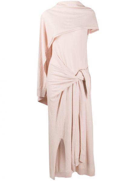 Вязаное розовое платье с запахом с воротником Christian Wijnants
