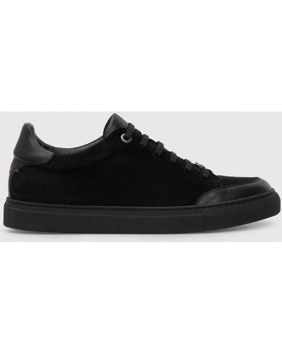 Замшевые кроссовки - черные Isaia