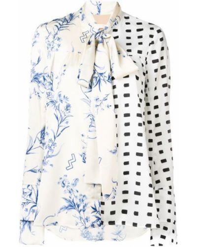 Блузка с длинным рукавом с бантом бежевый Ssheena