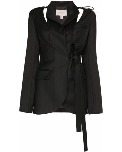Костюмный черный удлиненный пиджак с карманами Matériel