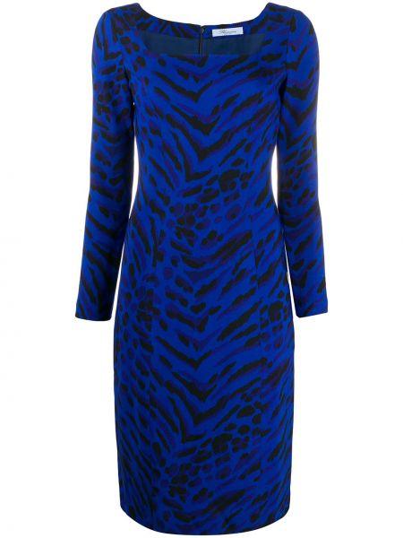 Приталенное платье миди - синее Blumarine