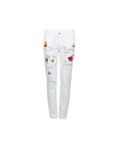 Белые хлопковые брюки Moschino Love