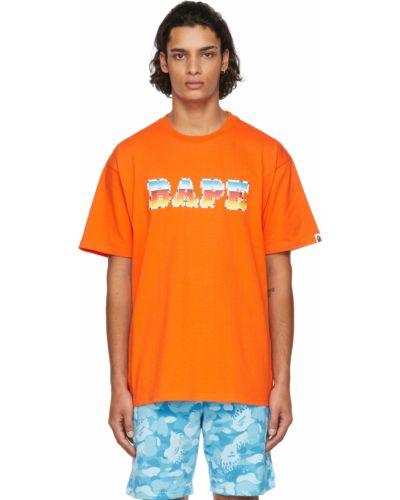 Оранжевая футболка с воротником Bape