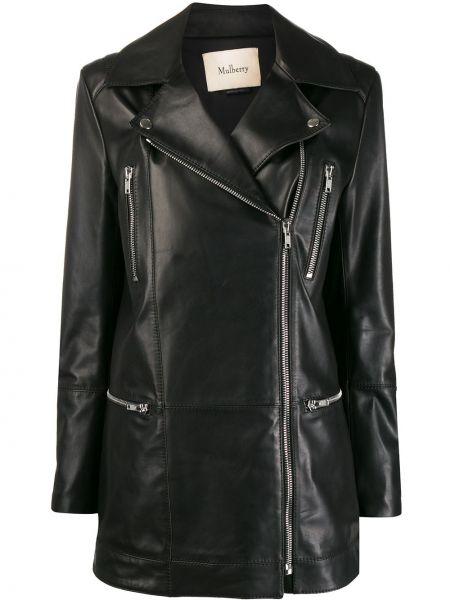 Прямая черная куртка на молнии байкерская Mulberry