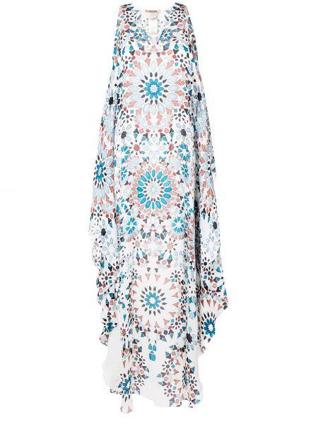 Свободное белое платье на молнии свободного кроя Roberto Cavalli