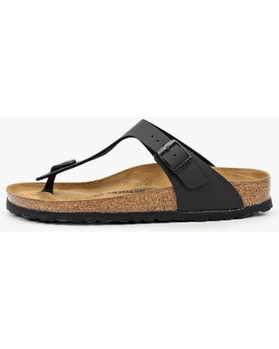 Черные кожаные сандалии на пробковой подошве Birkenstock