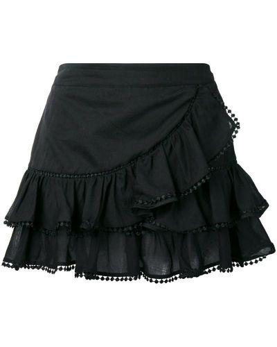 Плиссированная черная приталенная юбка мини с оборками Charo Ruiz