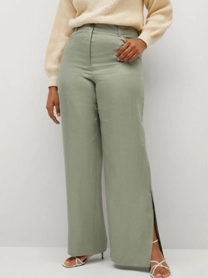 Расклешенные зеленые брюки Violeta By Mango