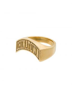 Золотистое кольцо золотое с декоративной отделкой позолоченное Hatton Labs