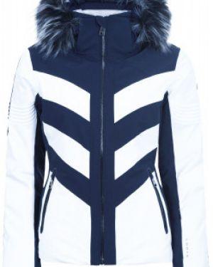Приталенная белая куртка с капюшоном мембранная на молнии Luhta