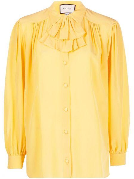 Bluzka z długim rękawem jedwabna z falbankami Gucci