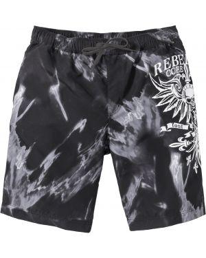 Пляжные шорты черные на резинке Bonprix
