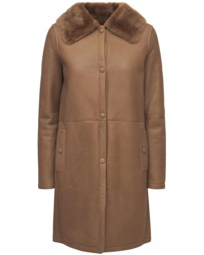 Бежевое пальто с карманами Yves Salomon