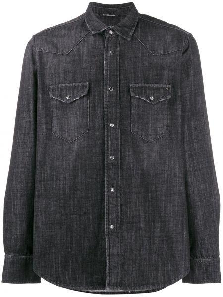 Czarna koszula jeansowa bawełniana z długimi rękawami Htc Los Angeles